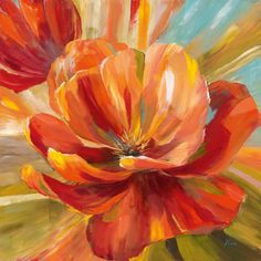 Bring light and color into your home with this stunning Nan 'Island Blossom II' framed print. The lovely piece features a colorful blossom in full bloom. The bold reds and sweet yellows give this prin Art Encadrée, Art Mural, Lion Wall Art, Arte Van Gogh, Art Van, Oil Painting Flowers, Arte Floral, Botanical Art, Flower Art