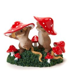 Take a look at this Red Mushrooms & Mice Figurine by Charming Tails on #zulily today!