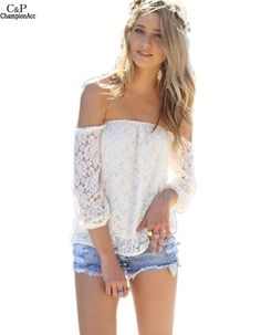 Blusas Summer Style Womens lace Blouse Sexy Women Lace Casual Off Shoulder Solid Shirts Slash Neck Tops Plus Size 63 #Affiliate