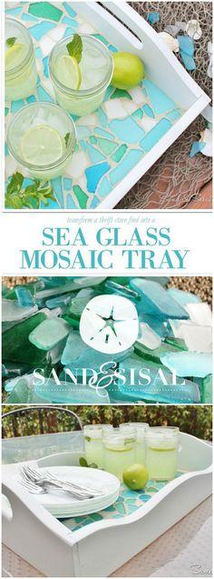 Sea Glass Mosaic Tray - Sand and Sisal