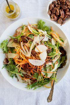 Wild Greens and Sardines : Apple, Fennel, & Kohlrabi Salad with Maple-Roasted Pecans