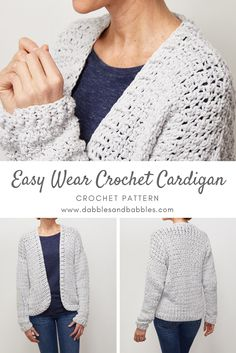 Easy Wear Crochet Cardigan Pattern – Dabbles & Babbles – The Best Ideas Quick Crochet, Chunky Crochet, Cute Crochet, Crochet Tops, Double Crochet, Single Crochet, Armband Diy, Shrug For Dresses, Black Crochet Dress