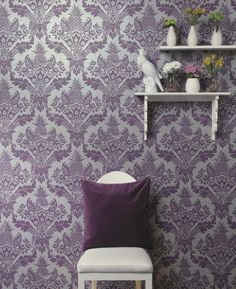 Retro inspired damask wallpaper in bold purple  on a silver background. Look for the cheeky jungle animals peeking from behind the pattern.... From the Paradise collection, Bengal 98413 by Holden. Available in NZ through Guthrie Bowron stores.