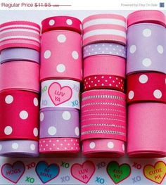 ON SALE 20 Yard Conversation Hearts Valentine Grosgrain Ribbon Lot in Pink, Fuchsia and Purple | HairbowSuppliesEtc - Cr