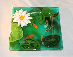 Fused Glass Lily Pond plate by BloomingLilyGlass on Etsy