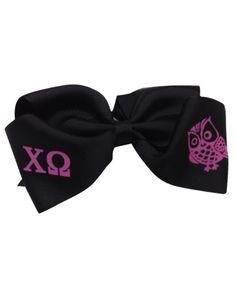Chi Omega Owl Hair Bow #accessory    sorority www.adamblockdesign.com