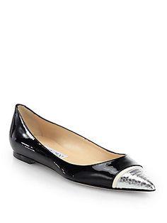Jimmy Choo Alfonso Patent Leather & Metallic Snakeskin Ballet Flats