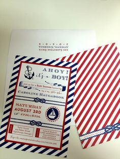 Nautical Baby Shower, nautical baby shower invitation by plain jane designs and Natalie Bradley Events