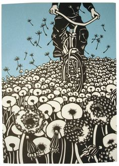 Nikki McClure - Bicycles and Dandelions. Love how dandelions take flight. There's something about their freedom to fly that is beautiful to see - like a kid on a bicycle, taking off on their own steam, the world seems like its theirs to explore.