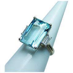 Aquamarine Jewelry, Diamond Jewelry, Gemstone Jewelry, Silver Jewelry, Emerald Cut Diamonds, Diamond Cuts, I Love Jewelry, Jewelry Rings, Art Nouveau