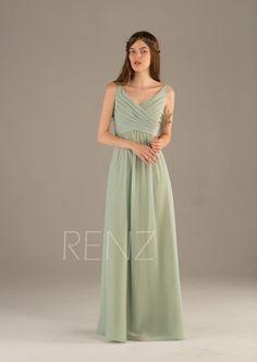 8a98bdf34c8ce Bridesmaid Dress Dusty Mint Chiffon Dress Wedding Dress Ruched V Neck  Empire Waist Prom Dress Sleeveless A Line Maxi Dress(T111)---Renzrags