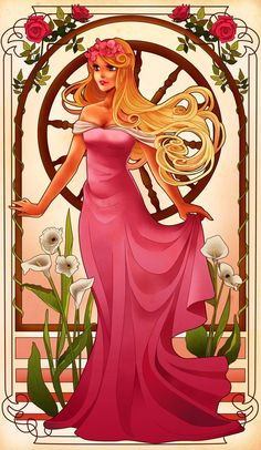 Princesas Disney no estilo Art Nouveau Por Hannah Alexander Disney Fan Art, Disney Pixar, Disney Princess Art, Princess Cartoon, Disney And Dreamworks, Disney Animation, Walt Disney, Disney Characters, Aurora Disney