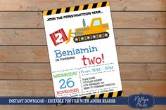 Construction Birthday Party, Construction Birthday Invitation, Construction Invitation, Self Editable PDF file, Instant Download, Boy Invite