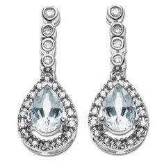 14k White Gold Aquamarine and Diamond Drop Earrings: Jewelry  Poss for the wedding