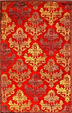 red and gold rug