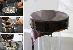 Chocolate - Food Eli 4 in 2019 Love Chocolate, Chocolate Ganache, Sweet Recipes, Cake Recipes, Mirror Glaze Cake, Mirror Cakes, Sweet Cooking, Drip Cakes, Cake Tutorial
