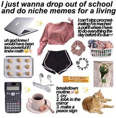 I do everything the CLASS before it's due Lazy Day Outfits, Trendy Outfits, Cute Outfits, Aesthetic Memes, Aesthetic Clothes, Estilo Goth Pastel, Teen Trends, Vetement Fashion, Accesorios Casual