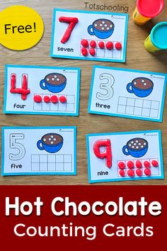 FREE printable Winter themed counting cards featuring hot chocolate and marshmallows, perfect for a Winter math activity in preschool! Get preschoolers to practice counting, ten frames and number recognition with this fun playdough activity!