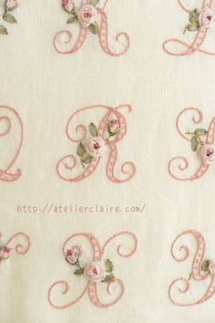 Have Fun with Silk-Ribbon Embroidery - Embroidery Patterns Embroidery Alphabet, Embroidery Monogram, Rose Embroidery, Hand Embroidery Stitches, Silk Ribbon Embroidery, Hand Embroidery Designs, Embroidery Techniques, Cross Stitch Embroidery, Creative Embroidery
