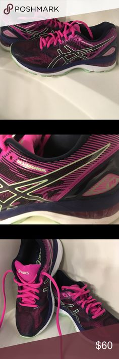 Asics Gel-Nimbus 19 Asics Cumulus18. Worn Once. Women's size 7.5. Navy, black , fuchsia and mint green..very cool shoes, perfect condition but too small. I ordered the exact shoe in 1/2 size bigger!! Asics Shoes Athletic Shoes #coolathleticshoes