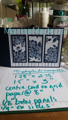 My guest post on Punch-4-That! Floral Boutique DSP on Night of Navy triptych card. Stampin Up.