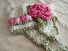 Baby Hats Baby Girl Hat Rosebud Hat Crochet por JojosBootique
