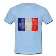 T-shirt Bleu Ciel France bleu blanc rouge: Vieux Drapeau Français