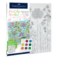 Beginners can create a floral watercolor painting with Watercolor Paint by Number Farmhouse Floral! This paint by number includes a unique paint pallet, paint brush and seperate number guide that will allow you to create a masterpiece. With the quality Faber-Castell products you will create a watercolor piece of art that you will be proud to hang on your wall! Watercolor Canvas, Watercolour Painting, Watercolors, Floral Watercolor, Point Paint, Artist Materials, Painting Activities, Paint By Number Kits, Paint Drying