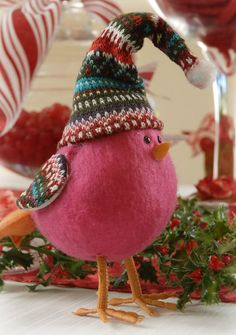 Pink Felt Bird Ornament
