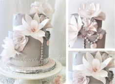 wWafer paper flowers vintage style cake by Lorena Gil Vasquez, More Sweet Cupcakes, Switzerland as featured on the Wafer Paper Flowers & Tutorials collection on Cake Geek Magazine. Wafer Paper Flowers, Paper Dahlia, Wafer Paper Cake, Paper Peonies, Paper Flowers Craft, Gum Paste Flowers, Sugar Flowers, Paper Roses, Flower Crafts