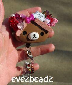 Hearts and Bows Too Rilakkuma Teddy Bear Nurse Id Badge Holder | evezbeadz - Accessories on ArtFire