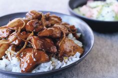 Sticky ginger chicken stir-fry with cucumber and ginger salad