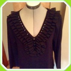 Ruffled T shirt $5 When Bundled Great little cotton t-shirt with 3/4 sleeves and a fabulous ruffled neckline with matching stones! Excellent condition with no signs of wear. Tops Tees - Long Sleeve