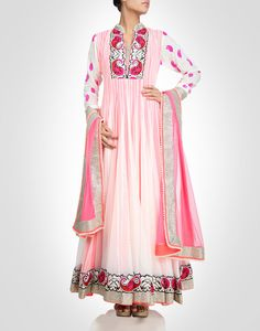 Anarkali with embroidery and zari work. Available in more colours.  Shop Now: www.kimaya.in.