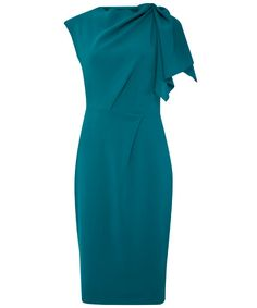 Teal Asymmetric Draped Shoulder Fitted Dress, Liberty London