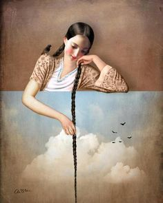Touch the Sky (Rapunzel). New Digital artwork by Catrin Welz-Stein.