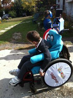 Wheelchair costume. Peewee and chairie.