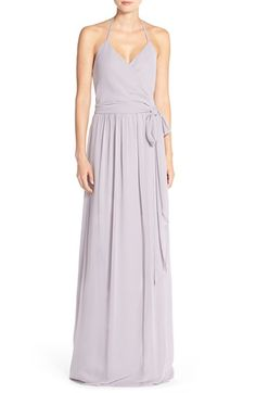 Free shipping and returns on Ceremony by Joanna August 'DC' Halter Wrap Chiffon Gown at Nordstrom.com. Soft chiffon lends fluid drape to a versatile, elegant gown that offers a customized fit thanks to slender halter ties and wrap styling. The surplice neckline and open back flaunt glowing skin and the floor-sweeping skirt creates a long, lean silhouette.