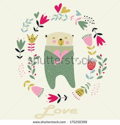 stock-vector-cute-floral-frame-with-bear-with-heart-in-cartoon-style-175250399.jpg (450×470)