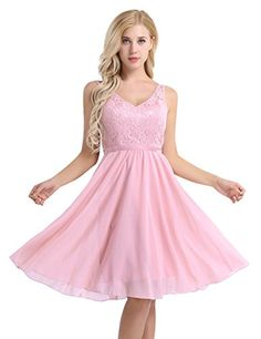 MSemis Womens Elegant Embroidered VNeck Floral Lace Pageant Wedding Bridesmaid Dress Pink 4 * To see better for this product, visit the picture web link. (This is an affiliate link). Ball Gowns Evening, Women's Evening Dresses, Ball Gowns Prom, Ball Dresses, Evening Party, Prom Ballgown, Evening Cocktail, Party Dresses, Knee Length Bridesmaid Dresses