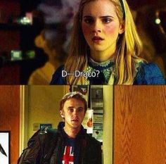 Omg they meet again and Hermione's like O.O wtf!? And it's looks like Draco's thinking the same thing.