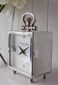 Chrome Mantel clock in polished silver - The White Lighthouse