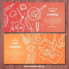 Red and orange cooking banners with white elements Free Vector How To Cook Rice, How To Cook Chicken, Banners, Cooking Cake, Cooking Pasta, Cooking With Kids, Cooking Ideas, Girl Cooking, Cooking School