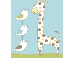 Art for nursery giraffe nursery decor baby gift by HappyNurseryArt