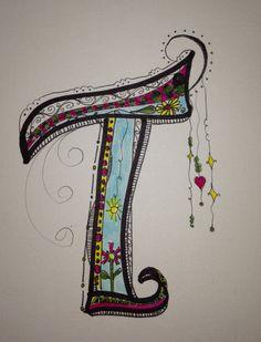 My monogram T ... Zen Tangle / Doodle Art.
