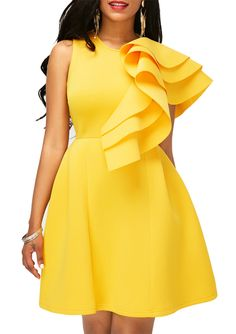 Yellow Flouncing Zipper Back Sleeveless Yellow Homecoming Dress, pre-sale dress only $32.77, don't miss.