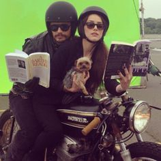 Pin for Later: The Sweetest and Silliest Celebrity Candids From 2014  James Franco rode a motorcycle with Amber Heard and her dog, Pistol, on the Adderall Diaries set. Source: Instagram user jamesfrancotv