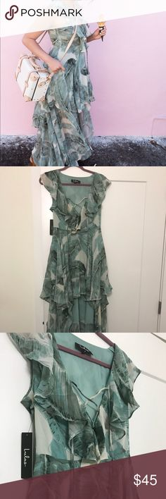 NWT Lulu's Palm Tree High Low Dress Brand new with tags! High Low, ruffled palm tree print dress with tie up front. Size M. Lulu's Dresses High Low