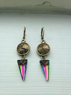 Vintage Gold, French Clasp Swarovski Crystal Earrings by FARFELLY
