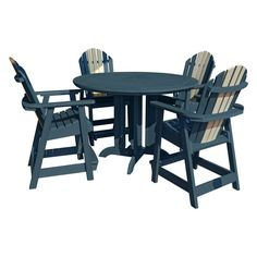 Highwood Hamilton Recycled Plastic 5 Piece Round Counter Height Adirondack Patio Dining Set - AD-CNA48-ODY